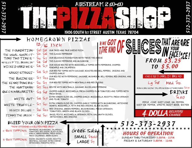 Pizza Shop Menu